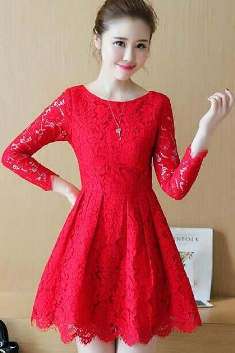 2017 Temperament Long Sleeved Lace Dress