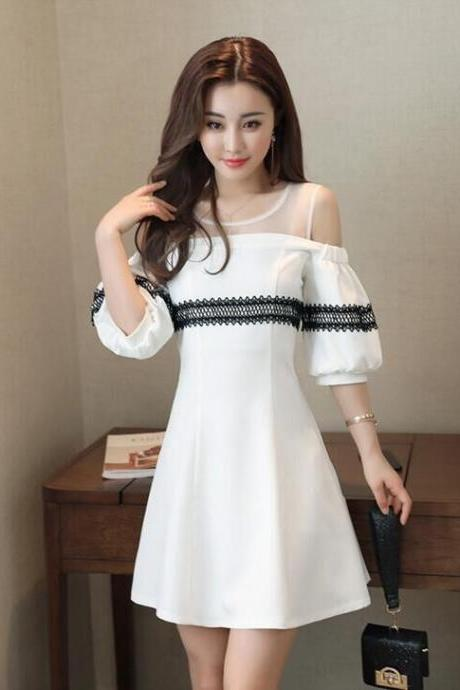 Hubble-bubble Sleeve Round Neck Shoulder Party Dress