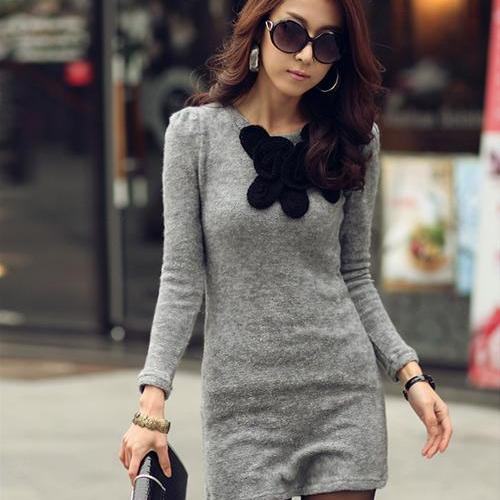 Round Collar Pure Color Knit Long Sleeve Dress