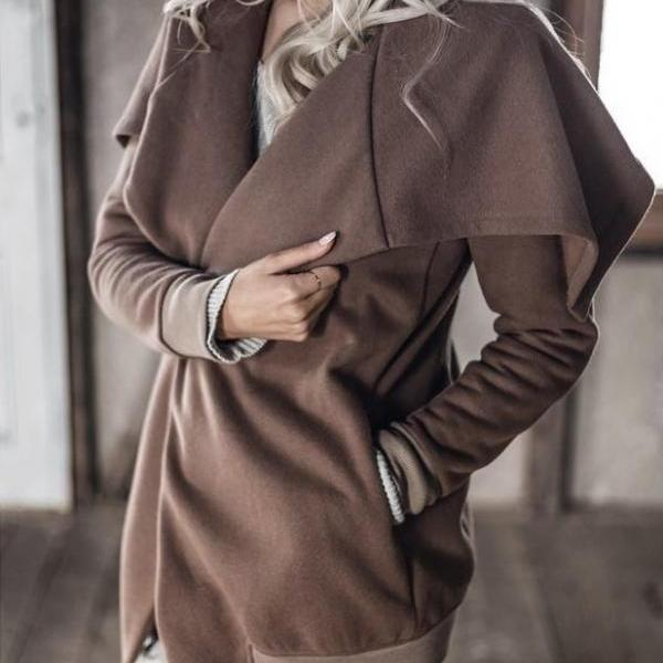 Bursting Lapel Temperament Windbreaker Coat