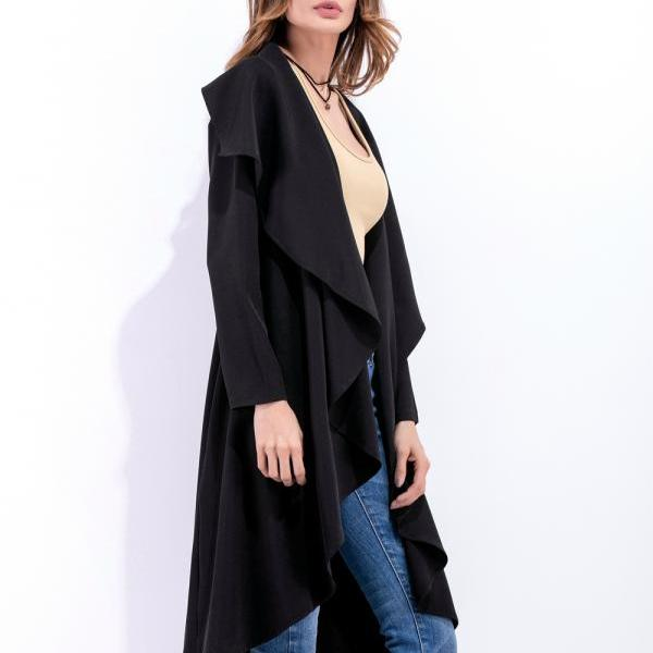 Lapel All-Match Irregular Cardigan Long Sleeve Coat