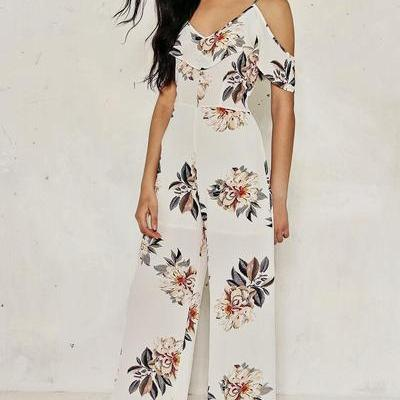 Cold Shoulder Floral Print Long Jumpsuit
