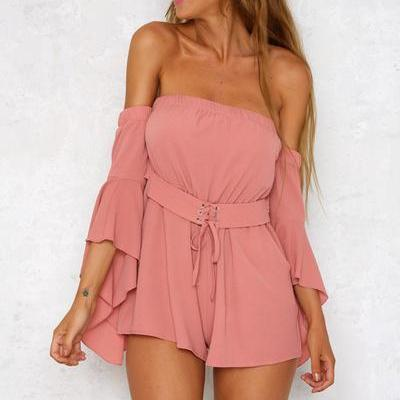 Off Shoulder Pure Color Short Jumpsuit