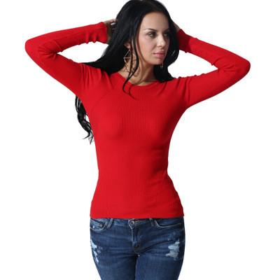 Scoop Pure Color Long Sleeves Regular Blouse