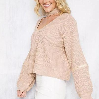 V-neck Long Sleeves Zipper Pure Color Pullover Sweater