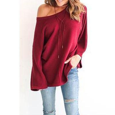 Scoop Loose Pure Color Long Sleeves Sweater