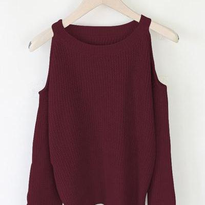 Bear Shoulder Pure Color Big Scoop Long Sleeves Long Sweater