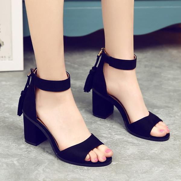Faux Suede Tassel Ankle Strap Chunky Heel Sandals