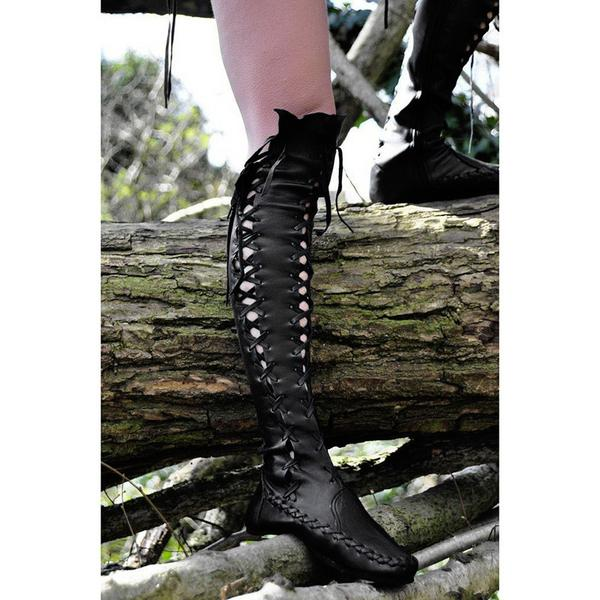 Lace Up Round Toe Flat Overknee Boots