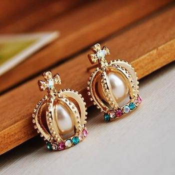 Crown Shape Colorful Rhinestone Stud Earrings