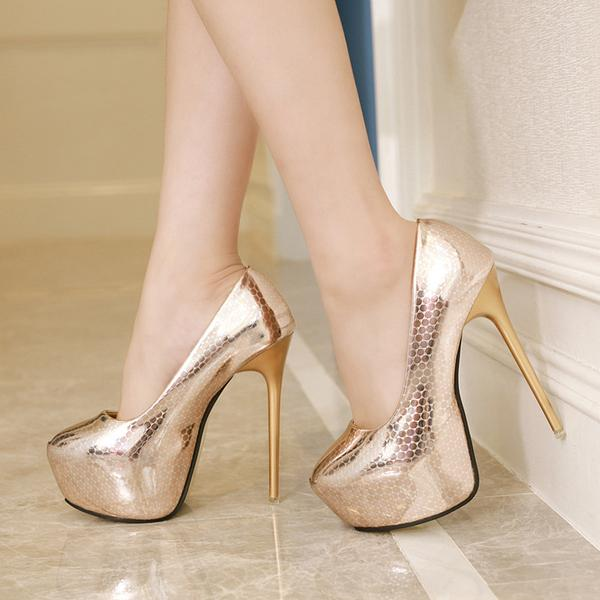 Platform Round Toe High Stiletto Heels Prom Shoes