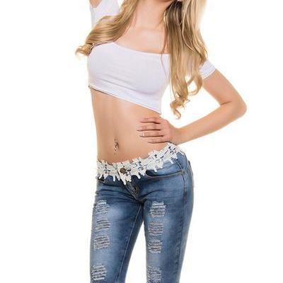 Lace Denim Pure Color Slim Half Shorts
