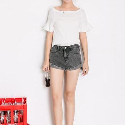 High Waist Irregular Pure Color Curled Denim Shorts