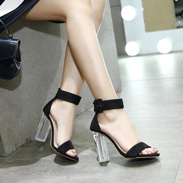 Faux Suede Buckle Ankle Strap Transparent Block Heel Sandals