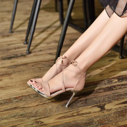 Ankle Wraps Suede Solid Color High Heels Sandals