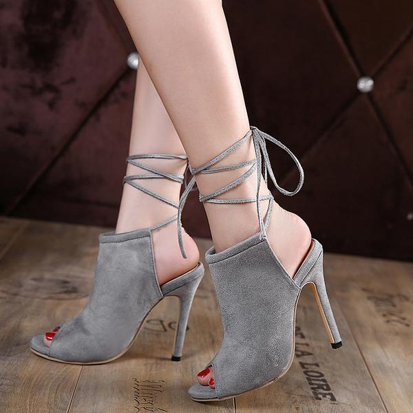 Suede Peep-toe Summer Ankle Strap Ankle Wraps Suede Peep Toe Stiletto Heel Sandals