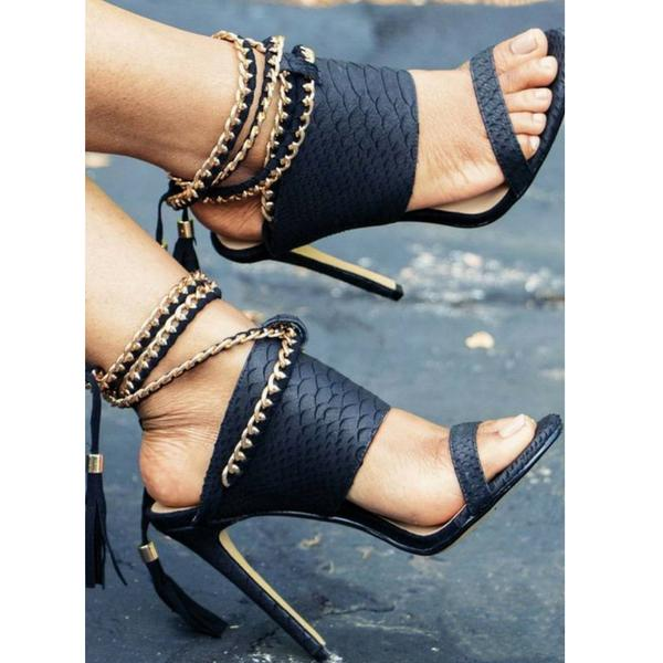 Open-Toe Embossed Gold Chain Ankle Strap Stiletto High Heels