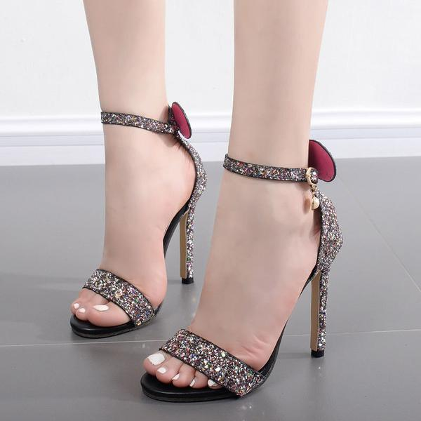 Open-Toe Sequined Ankle Strap Stilettos, High Heels