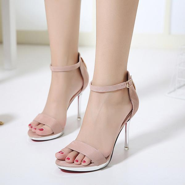 Faux Suede Ankle Straps High Heel Sandals Featuring Transparent Stilettos