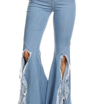 Solid Color Split Rough Tassels Irregular Flares Jeans Denim Pants