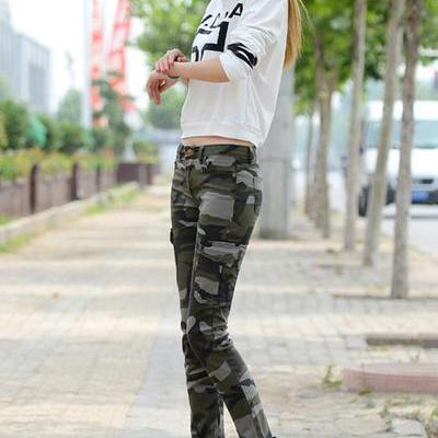 Camouflage Side Pockets Low Waist Long Pencil Pants