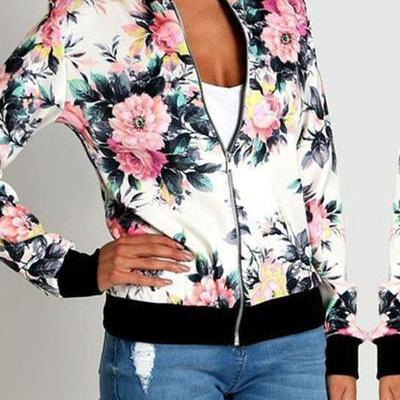 Flower Print Stand Collar Patchwork Short Jacket Coat
