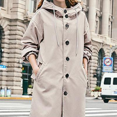 Drawstring Buttons Pockets Hooded Long Coat