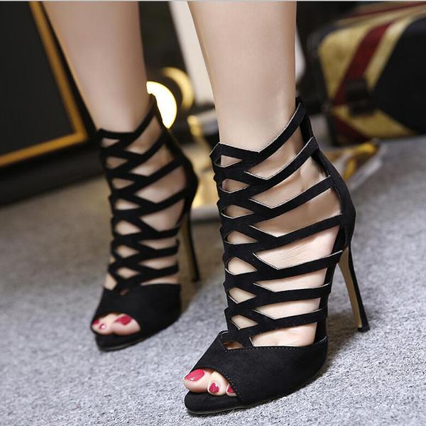 Suede Straps Cut Out Stiletto Heel Peep-toe Zipper Sandals