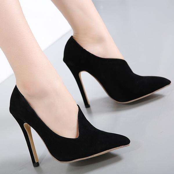 Suede Stiletto Heel Pointed Toe High Heels Party Shoes