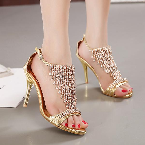 Rhinestone Open Toe Ankle Wrap Stiletto Heels Sandals