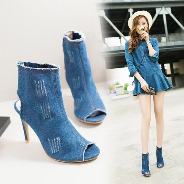 Peep-Toe Stiletto Ankle Boots, Light Blue/ Dark Blue Denim Wash