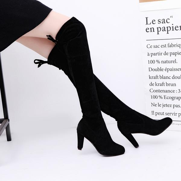 Faux Suede Rounded Toe Chunky Heel Over-The-Knee Boots