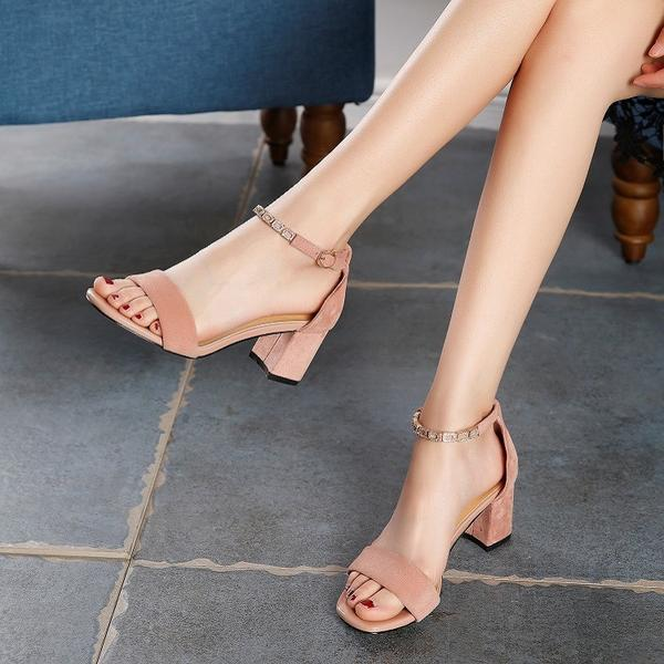 Chunky Short Heel Suede Open -Toe Sandals With Ankle Strap