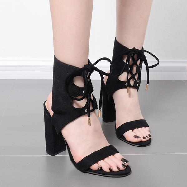 Lace Up Ankle Wrap Open Toe Chunky Heels Sandals