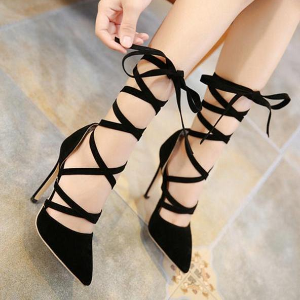 Pointed Toe Suede Stiletto Pumps with Criss-Cross Lace-Ups