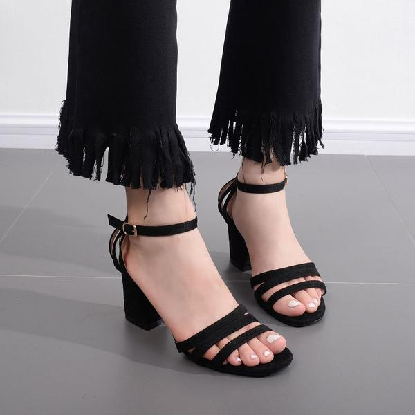 Chunky Low Heels Open Toe Ankle Wrap Sandals