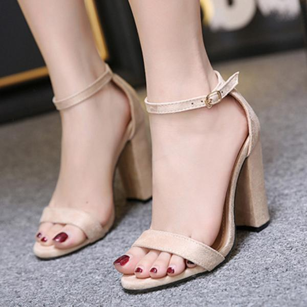 Faux Suede Ankle Straps High Heel Sandals