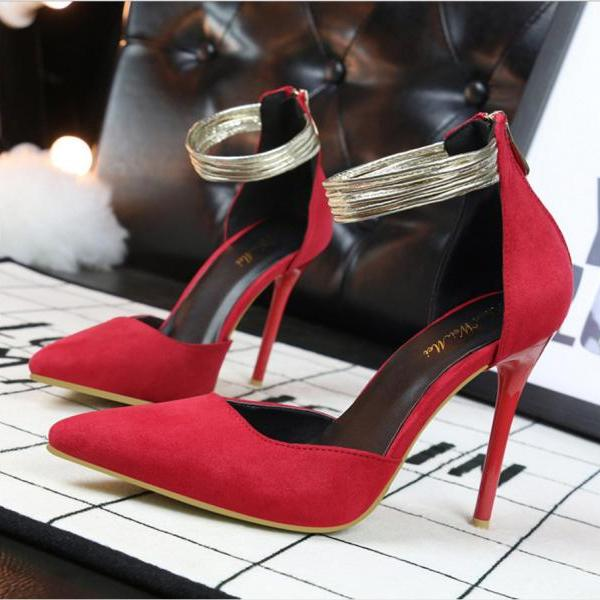 Low Cut Pointed Toe Ankle Wrap Stiletto High Heels Party Shoes