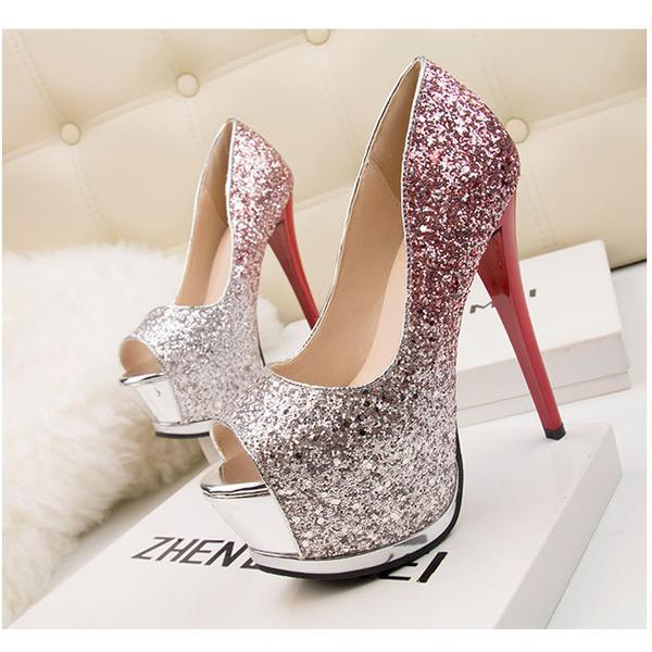 Sequin Gradient Peep Toe Stiletto High Heel Pumps, Party Heels