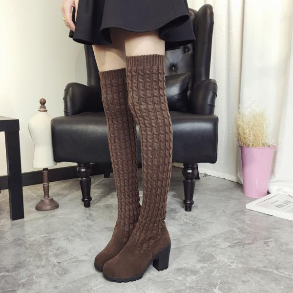 Knitwear Round Toe Low Chunky Heels Over-knee Long Boots