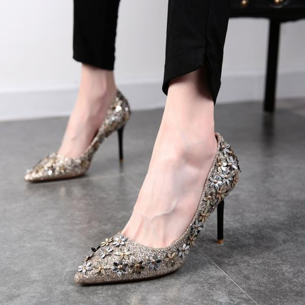 Pointed Toe Sequin High Heel Pumps with Floral Embellishments, Bridal Shoes, Prom Heels