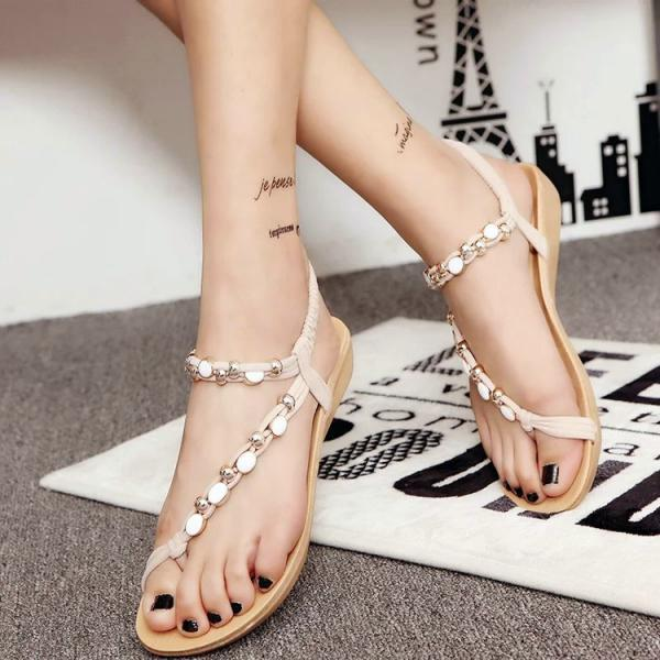 Bohemian Slip-on Ankle Wrap Beach Flat Sandals