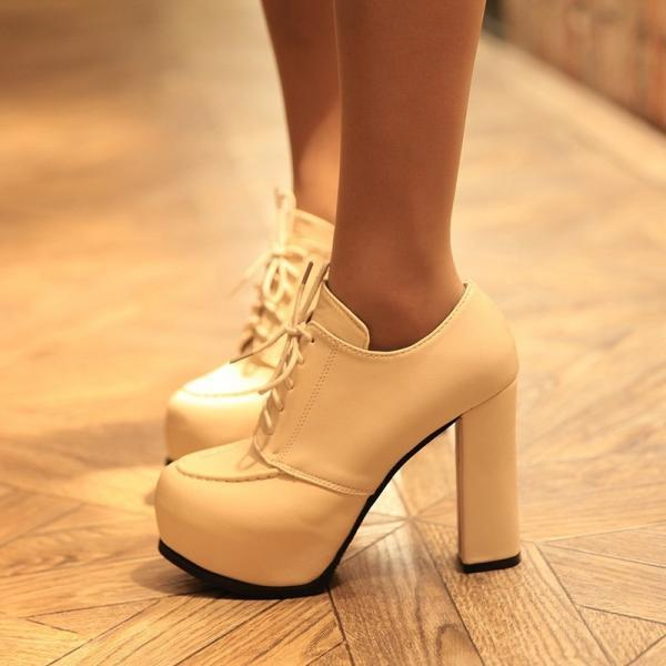 Chunky Heel PU Round Toe Lace-up High Heels