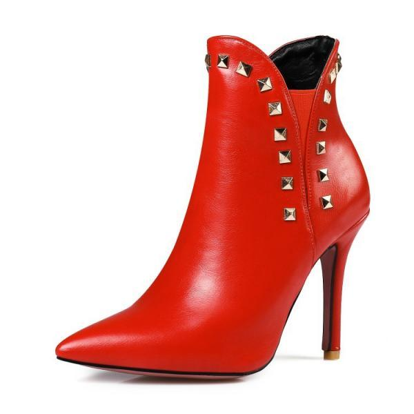 Faux Leather Rivet Embellished Pointed-Toe High Heel Ankle Boots