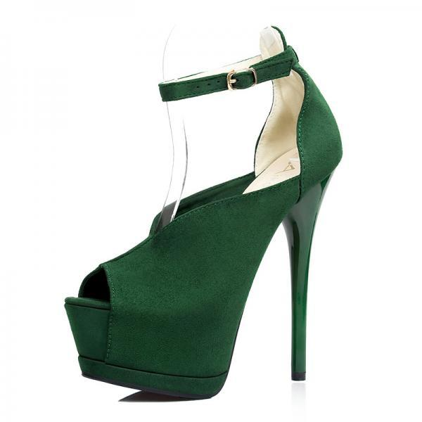 Peep Toe Candy Color Ankle Wrap High Stiletto Heels