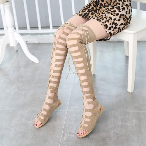 Straps Lace Up Peep Toe Over-knee Long Boot Sandals