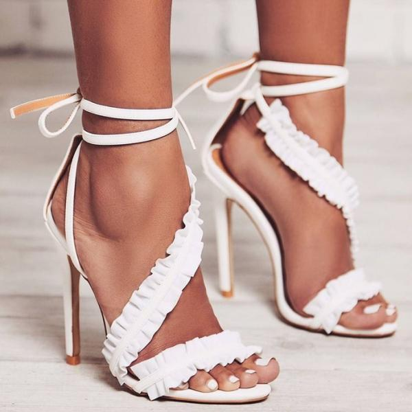 Suede Ruffle Open-Toe Asymmetrical Ankle Strap Stilettos, High Heels