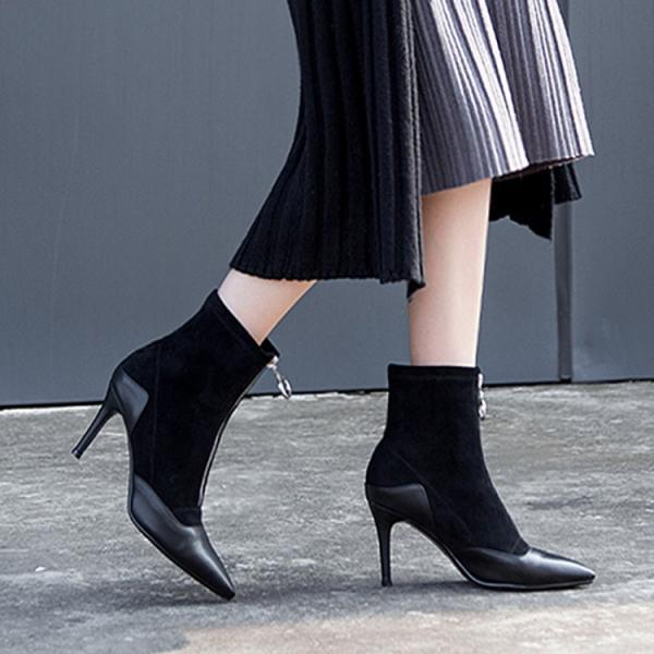 Front Hoop Zipper Pointed Toe High Heel Ankle Boots