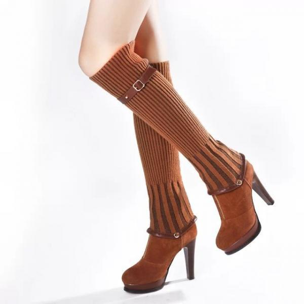 Detachable Knee-High Socks Platform Boots