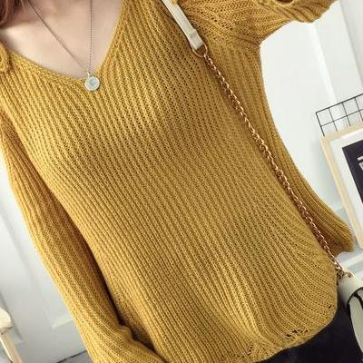 V-neck Bear Shoulder Straps Loose Long Trumpet Sleeves Sweater